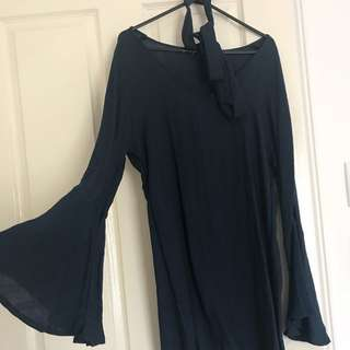 Navy Bell Sleeve Dress With Neck Tie