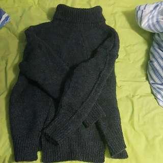 Grey Oversized Turtleneck  Sweater