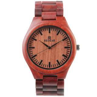 Redear Milan Chain Link Series Red Sandalwood Wood Wooden Watch