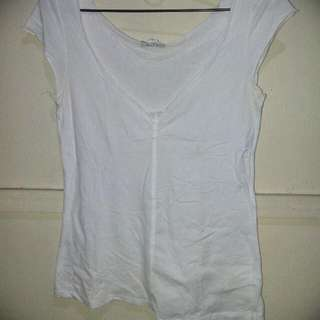 Zara V Neck White Top S
