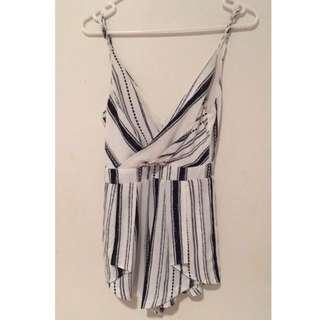 Blue & White Stripe Jumpsuit