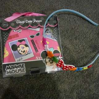 Minnie Mouse Coin Purse And Flowery Hairband