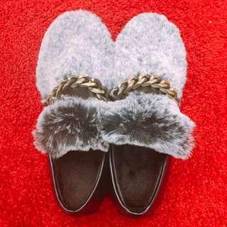 兔毛平底鞋