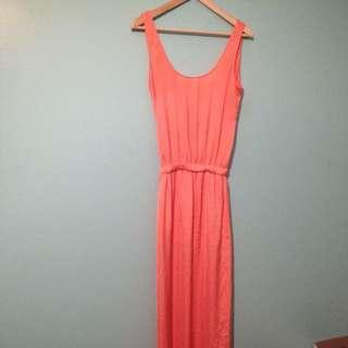 Coral Silk Maxi Dress
