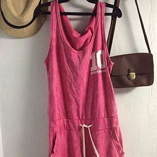 Pink Jumpsuit With Pocket And hood