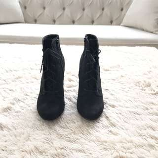 Women Black High Platform Booties