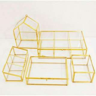 正方體 迷你 戒指盒 永生花禮盒 銅邊玻璃