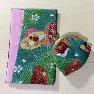 Traditional Japanese Style Card Holder And Petit Coin Pouch Set