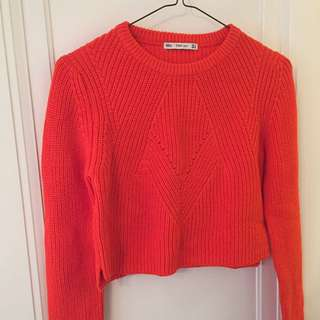 Zara Bright Orange Cropped Knit Sweater