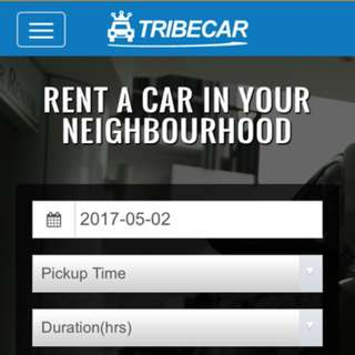 Join Tribecar, Get $15 Credits And Rent A Car From $2/hr
