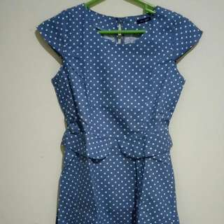 Polkadot Denim Dress