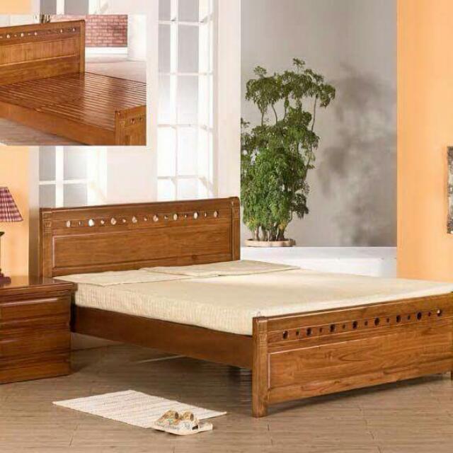 全新實木雙人床