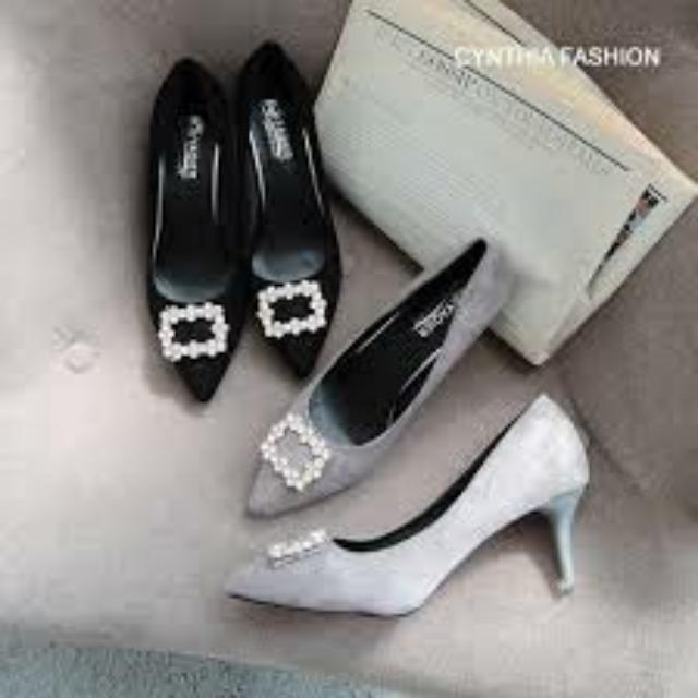 亮鑽方框尖頭高跟鞋#五百元好女鞋