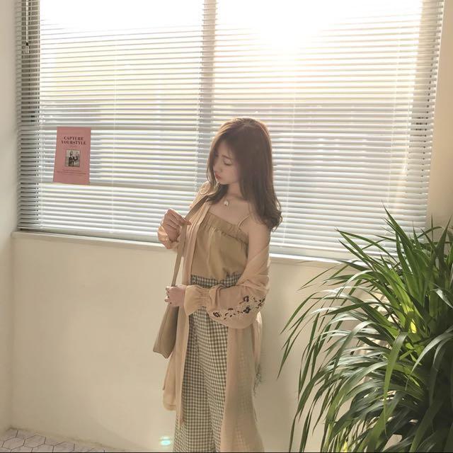🌺韓版刺繡雪紡長罩衫 #韓妞 #夏天 #防曬 #好搭 #日系 #波希米亞