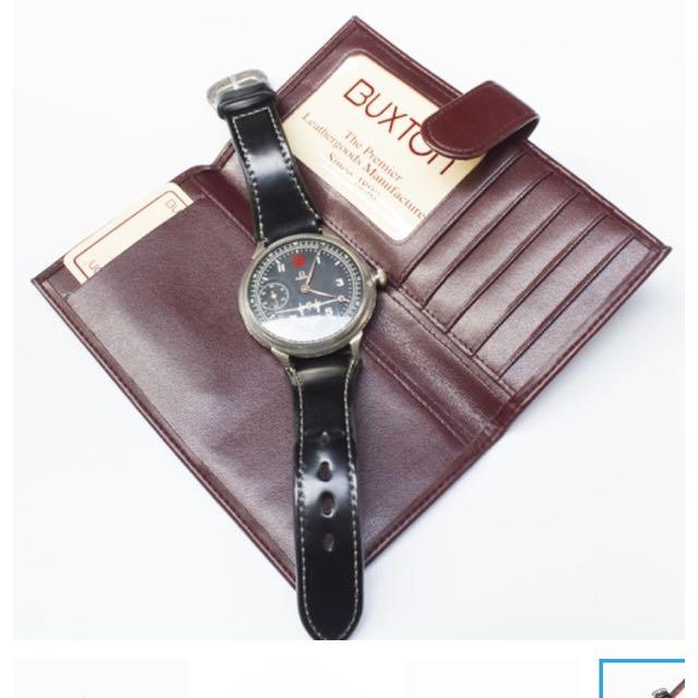 ( New ) 美國品牌 BUXTON 酒紅 長夾 皮夾