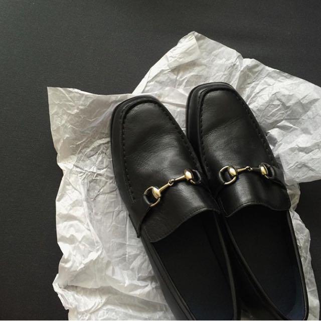 (免運)aaourbuy 真皮金屬環釦皮鞋