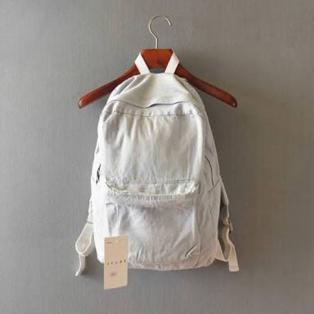 American Apparel Light Wash Denim Backpack