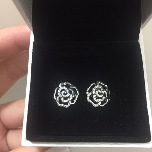 Authentic Pandora Earrings Shimmering Rose Earring Studs
