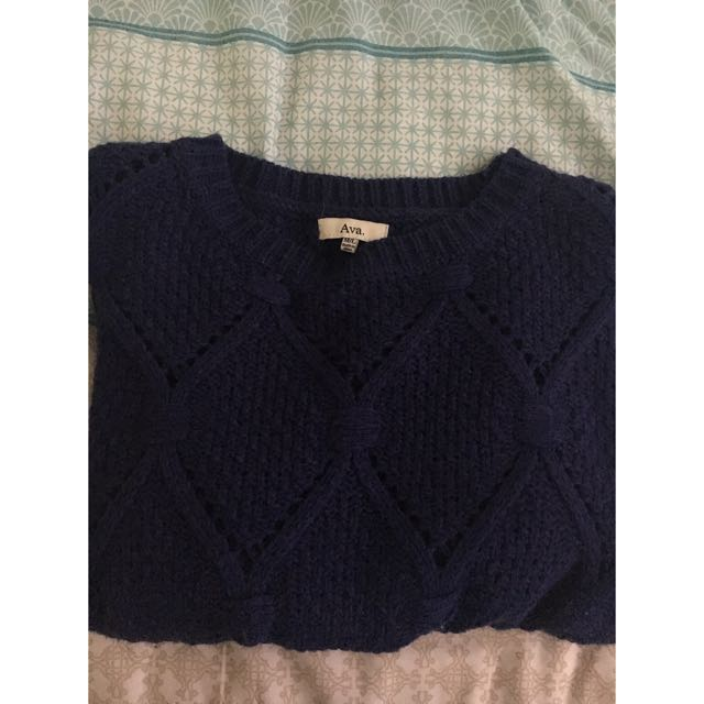 Ava. Womens Crotchet Knit Jumper