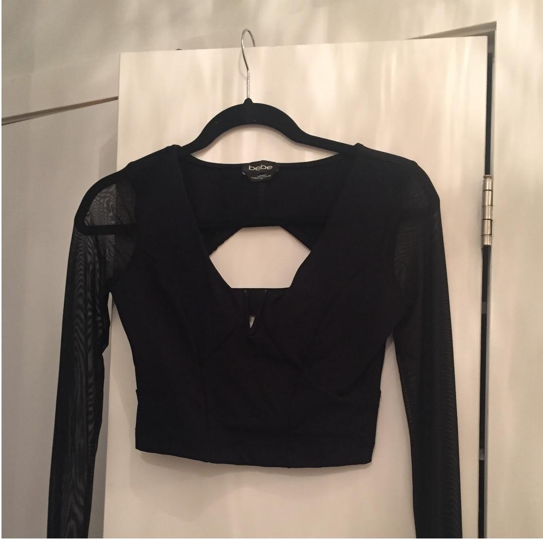 BEBE Black Crop Top - Size S