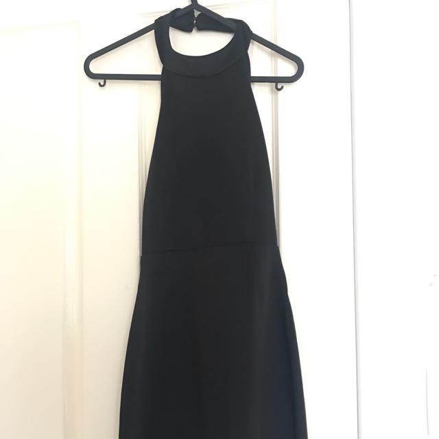 Black Backless Halter Neck Dress