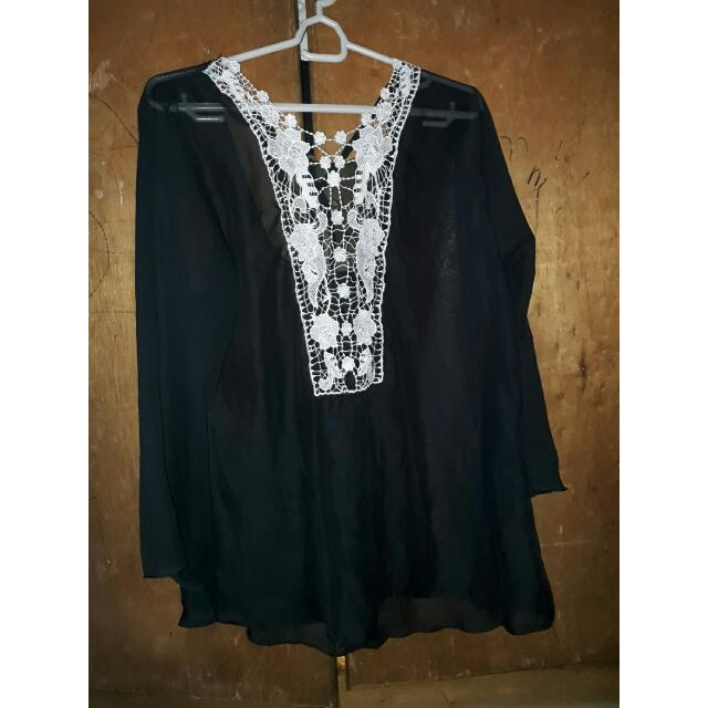 Black Chiffon Swimsuit Cover Up