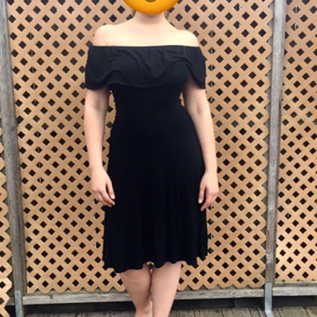 Black Off-Shoulder Midi Dress