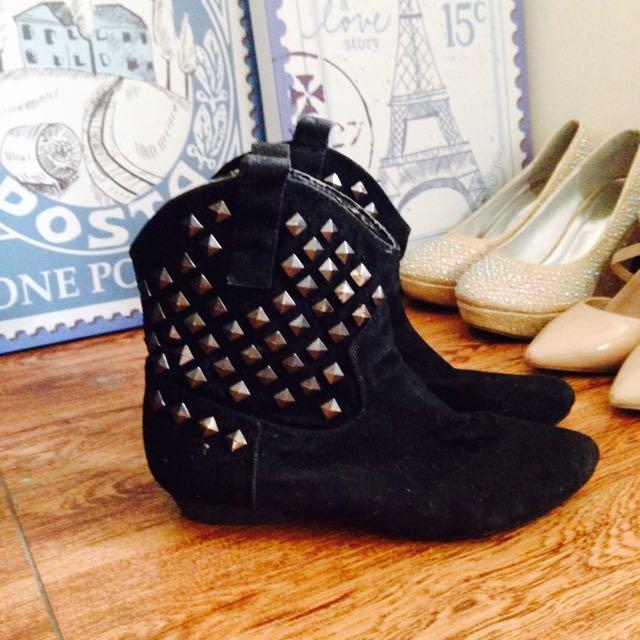 Black Studded Cowboy Boots