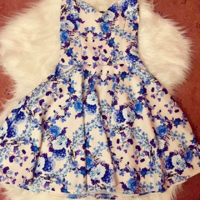 Blue Floral Strapless Dress UK Size 6