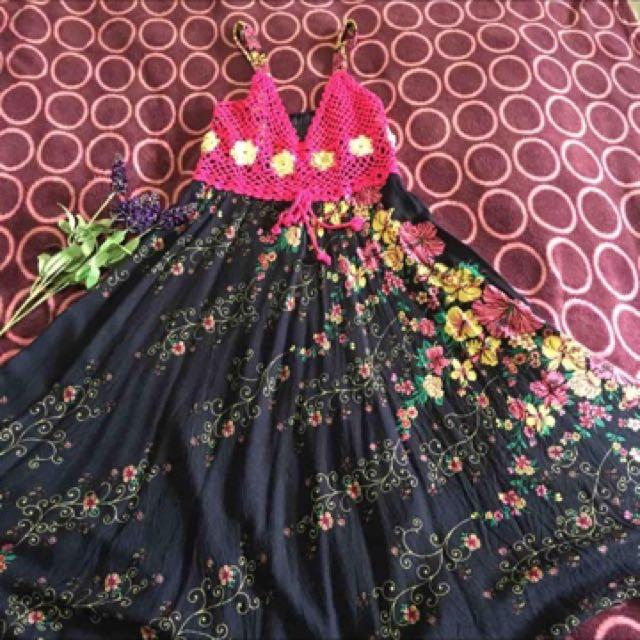 Boho Vintage Crochet Summer Dress