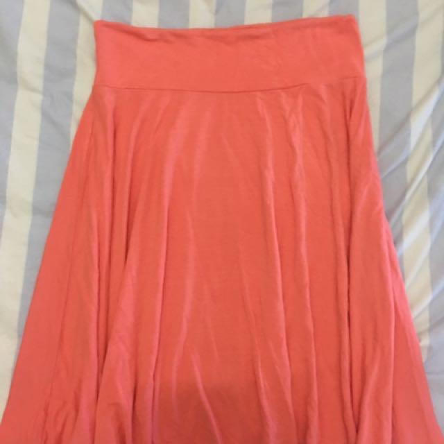 Cotton Skater Skirt (salmon-colored)
