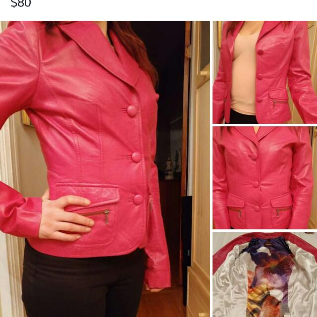 Danier Leather Pink Jacket 2XS