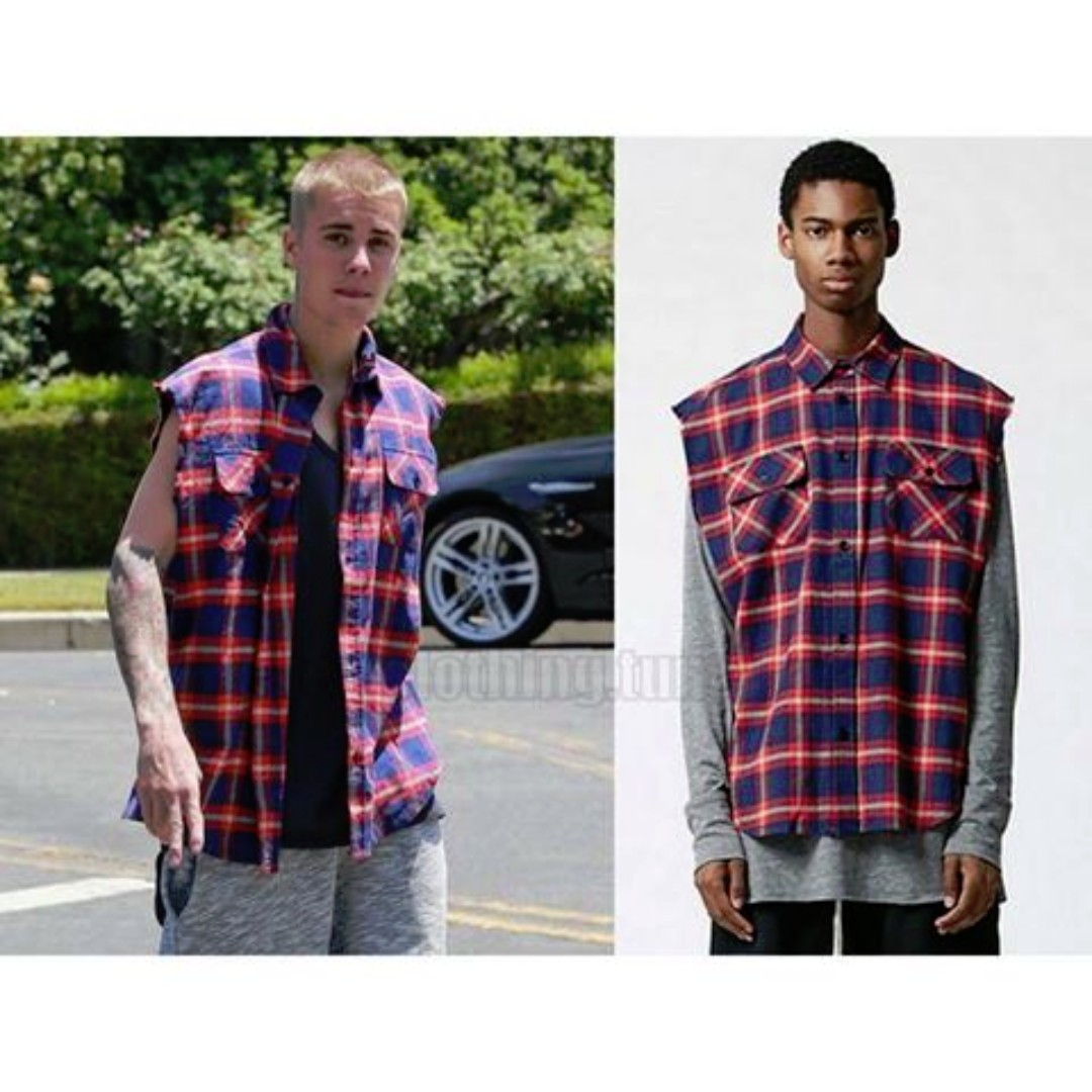 530a74c414bd FOG Fear of God Pacsun Plaid Flannel Cutoff Button Up Shirt