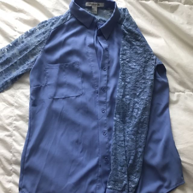 Forever 21 Lace Sleeve Dress Shirt