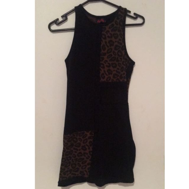 GLUE - Leopard & Mesh Dress