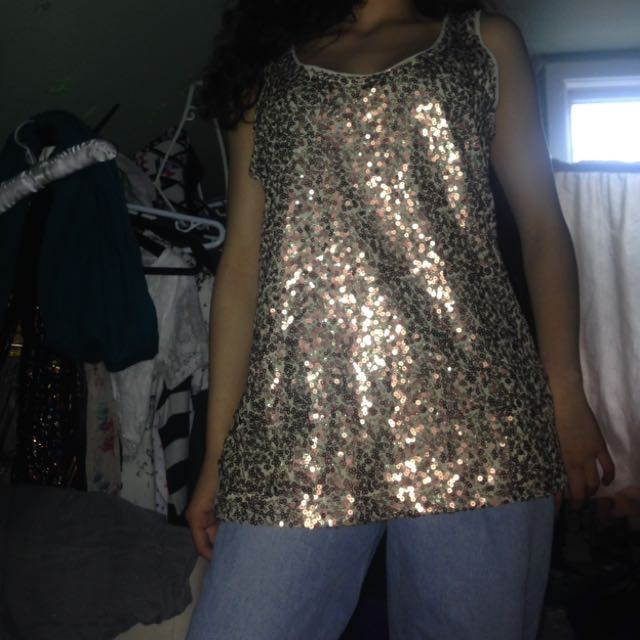 Vintage Gold Sequined Tank Top💛