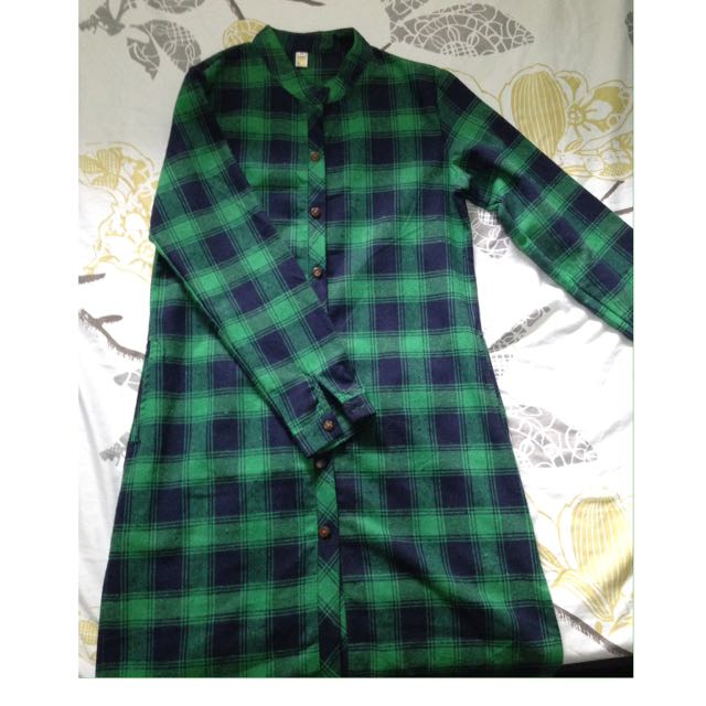 Green Checkered Polo Dress