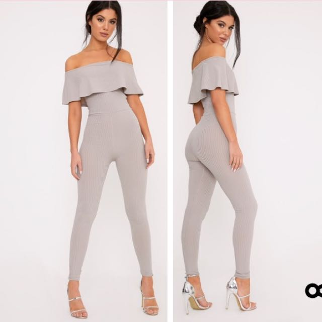 Grey ribbed jumpsuit BNWT 8