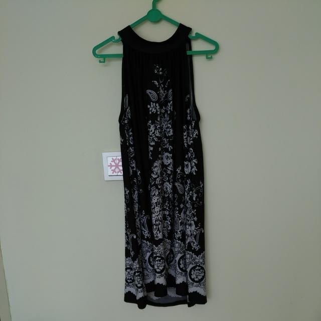 Halter Vintage Pattern Dress Hitam Putih