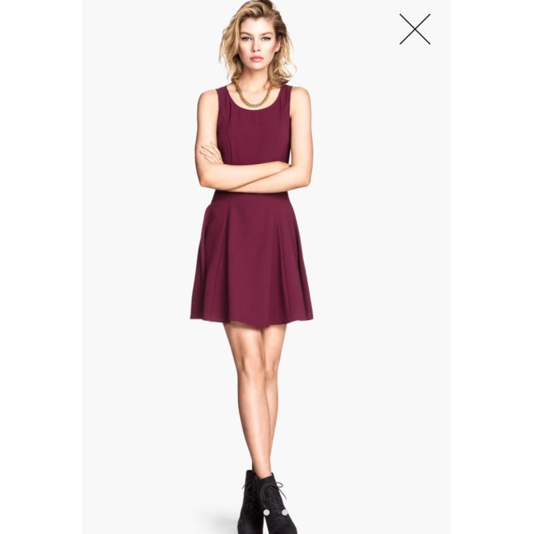 H&M深紅色修身洋裝