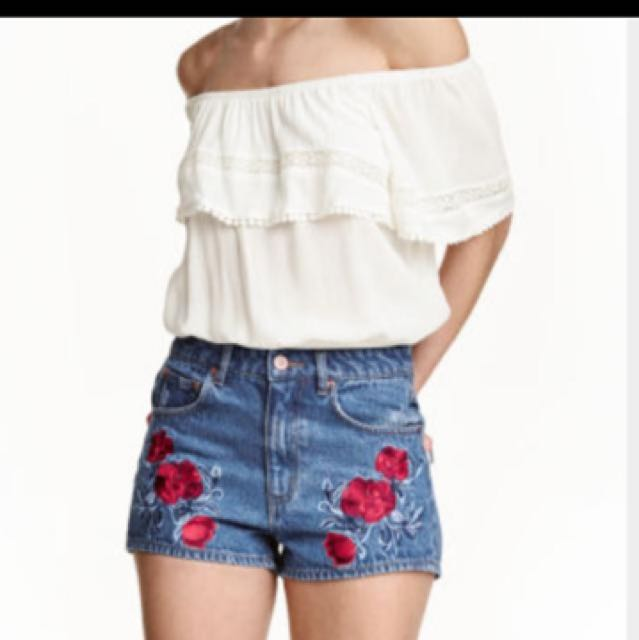 H&M 💜 Coachella High Waist Embroidered Denim Shorts, Women's Fashion,  Clothes, Pants, Jeans & Shorts on Carousell
