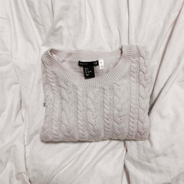 h&m basic white knit sweater