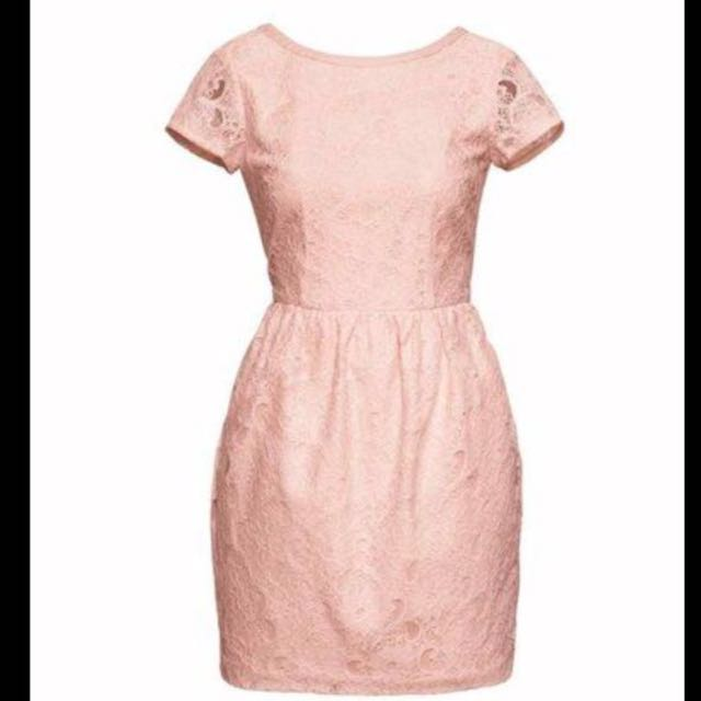 H&M Conscious Collection Short lace Powder Pink dress BRAND NEW W ...