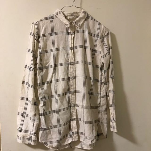 H&M White Grid Flannel Shirt