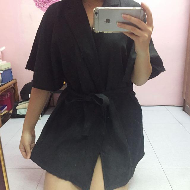 Kimono Tied Top in Black