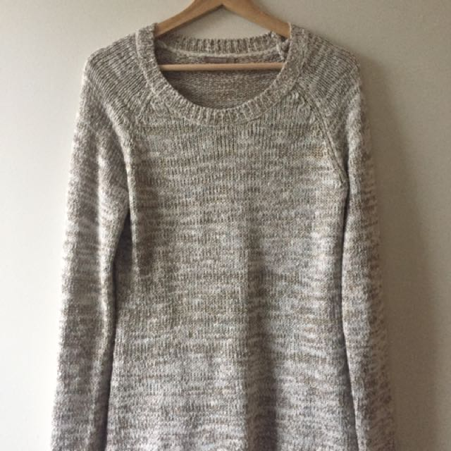 Knit Sweater - Gold and White