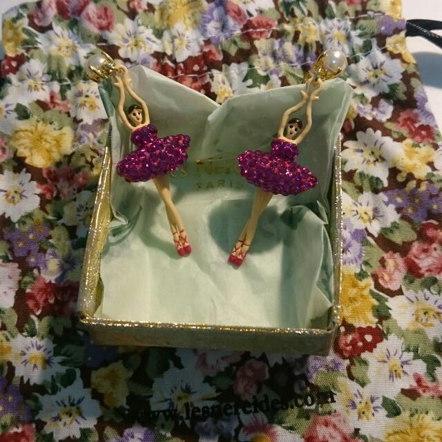 Les Nereides粉紫水鑽芭蕾舞耳環(針式)