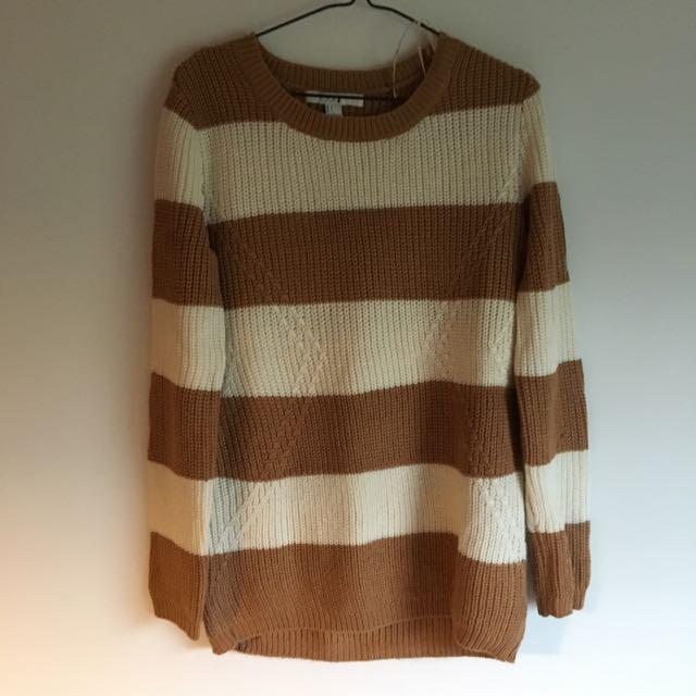 Longline Soft Strip Sweater