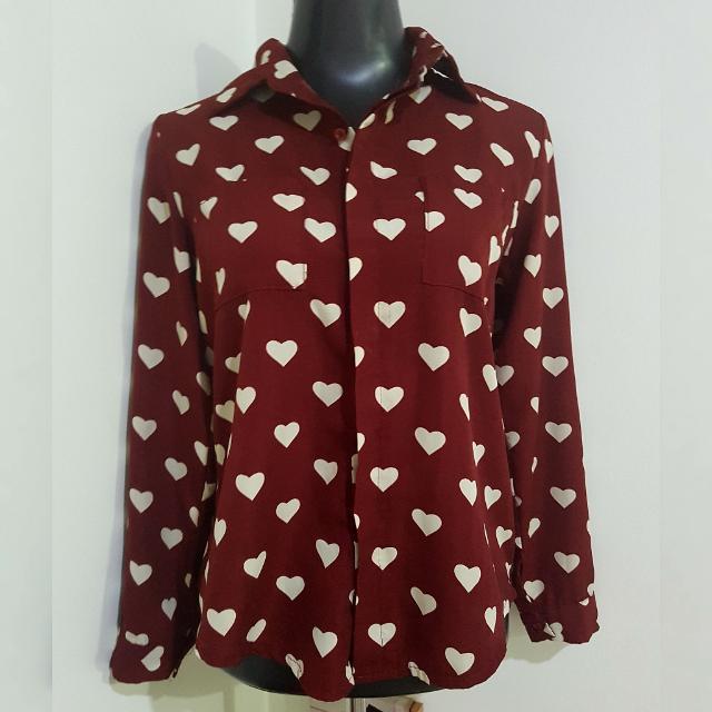 Maroon x white hearts long-sleeved polo