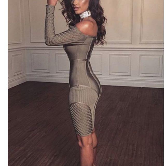 Meshki Khaki Bandage Dress